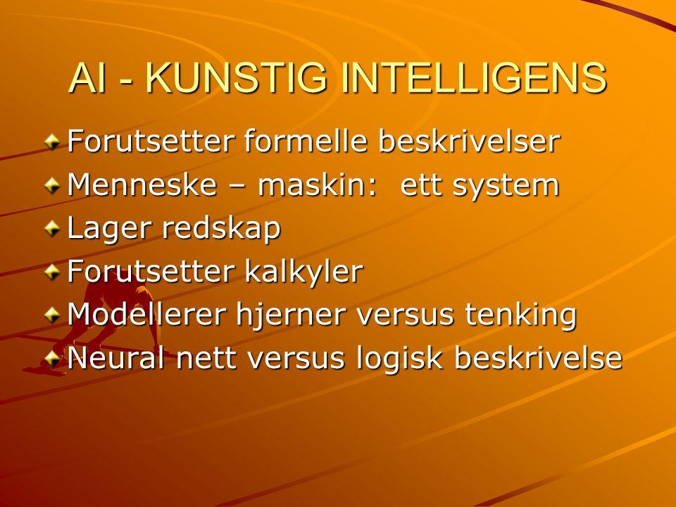 Kunstig intelligens Bruke datamaskin + omgivelse til intelligente slutninger Regnemaskiner – en kalkulator + omgivelse kan også være intelligent Kjennskap til metoder og eksempler Mye kontakt med annen vitenskap