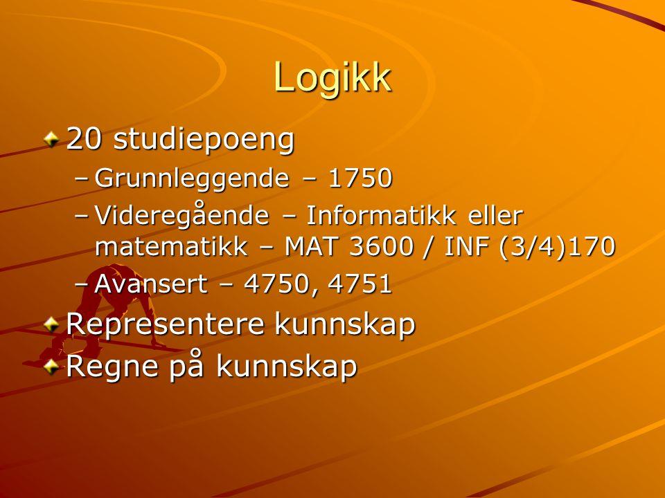 Logikk 20 studiepoeng –Grunnleggende – 1750 –Videregående – Informatikk eller matematikk – MAT 3600 / INF (3/4)170 –Avansert – 4750, 4751 Representere kunnskap Regne på kunnskap