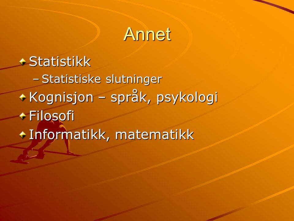 Annet Statistikk –Statistiske slutninger Kognisjon – språk, psykologi Filosofi Informatikk, matematikk