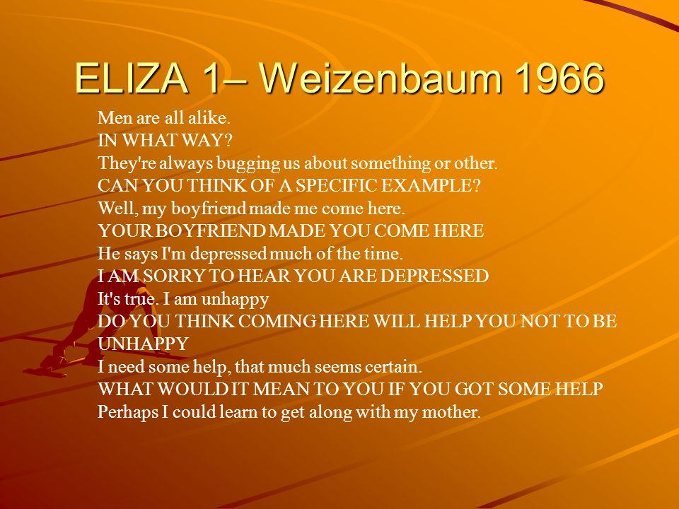 ELIZA 1– Weizenbaum 1966 Men are all alike.IN WHAT WAY.