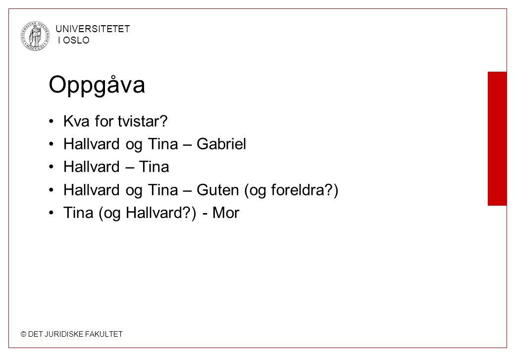 © DET JURIDISKE FAKULTET UNIVERSITETET I OSLO Oppgåva Kva for tvistar? Hallvard og Tina – Gabriel Hallvard – Tina Hallvard og Tina – Guten (og foreldr