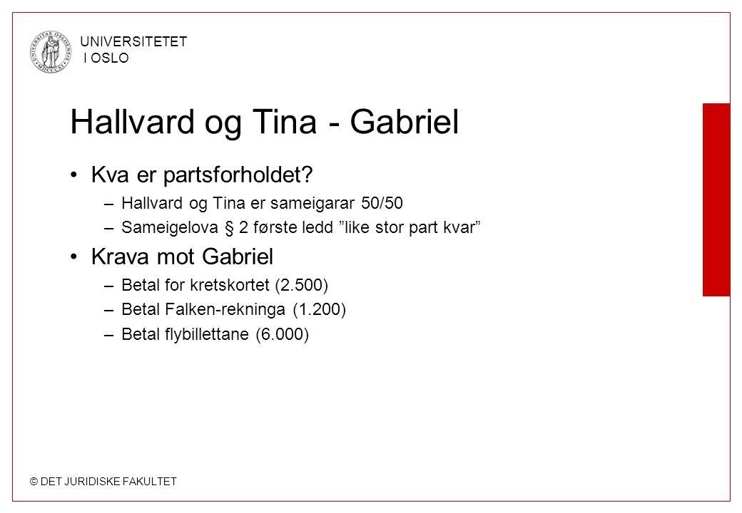 © DET JURIDISKE FAKULTET UNIVERSITETET I OSLO Hallvard og Tina - Gabriel Kva er partsforholdet? –Hallvard og Tina er sameigarar 50/50 –Sameigelova § 2