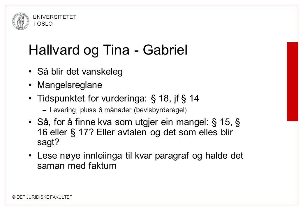 © DET JURIDISKE FAKULTET UNIVERSITETET I OSLO Hallvard og Tina - Gabriel Så blir det vanskeleg Mangelsreglane Tidspunktet for vurderinga: § 18, jf § 1