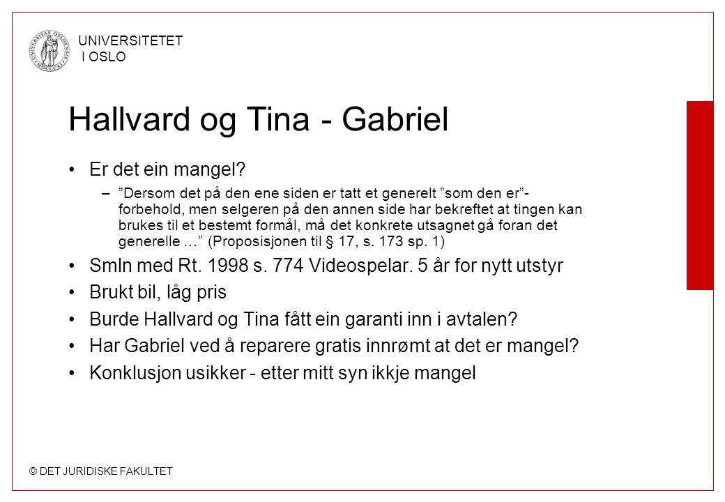 © DET JURIDISKE FAKULTET UNIVERSITETET I OSLO Hallvard og Tina - Gabriel Er det ein mangel.