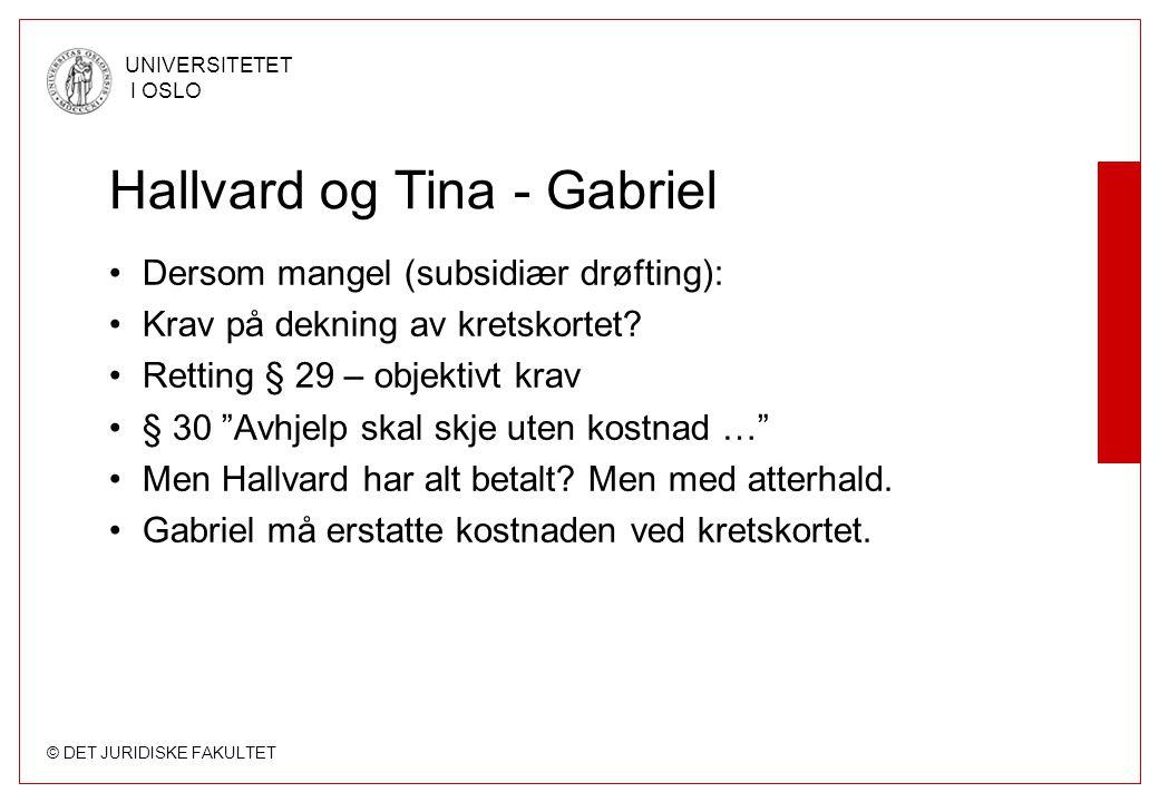 © DET JURIDISKE FAKULTET UNIVERSITETET I OSLO Hallvard og Tina - Gabriel Dersom mangel (subsidiær drøfting): Krav på dekning av kretskortet? Retting §