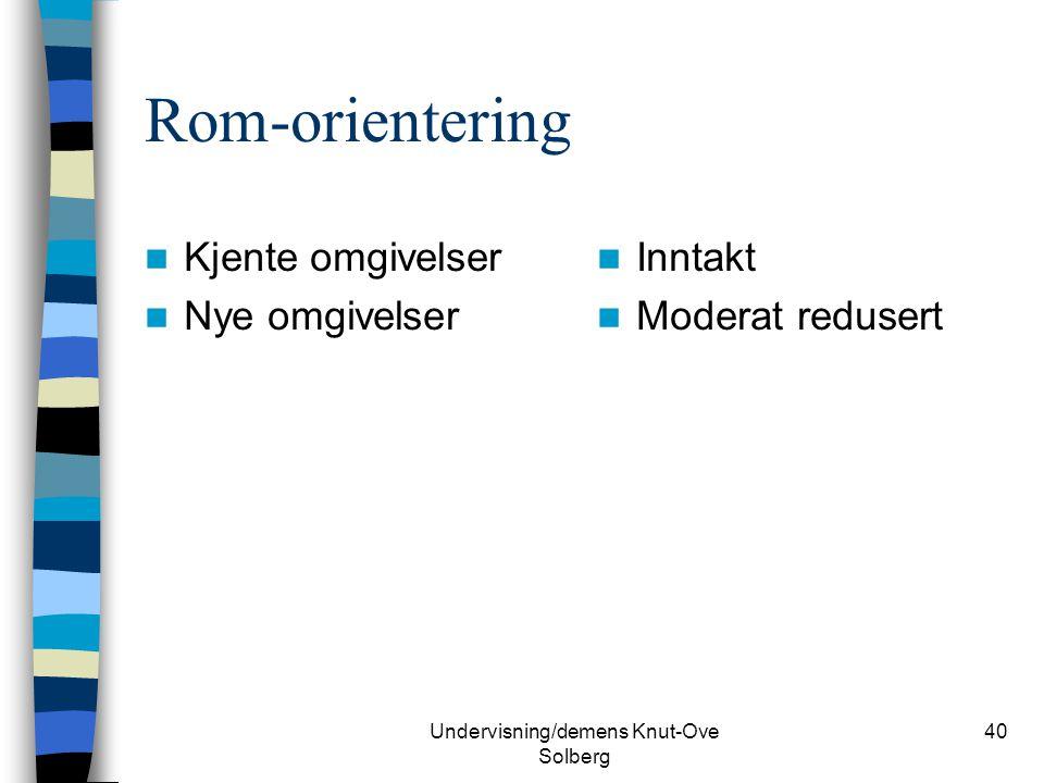 Undervisning/demens Knut-Ove Solberg 40 Rom-orientering Kjente omgivelser Nye omgivelser Inntakt Moderat redusert