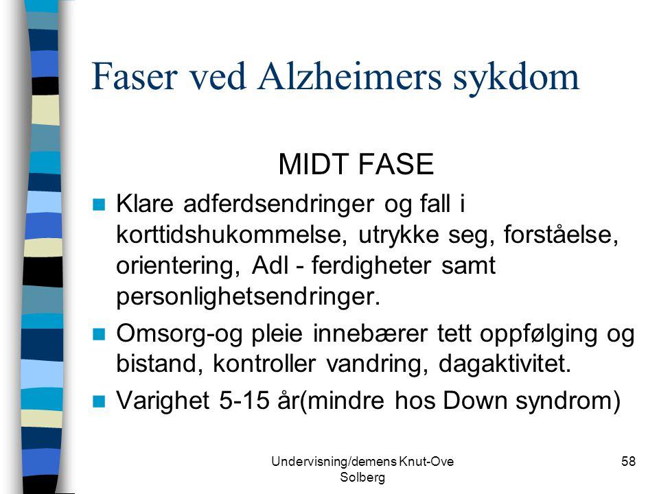 Undervisning/demens Knut-Ove Solberg 58 Faser ved Alzheimers sykdom MIDT FASE Klare adferdsendringer og fall i korttidshukommelse, utrykke seg, forstå