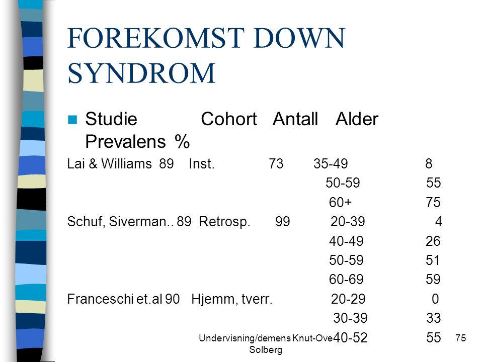 Undervisning/demens Knut-Ove Solberg 75 FOREKOMST DOWN SYNDROM Studie Cohort Antall Alder Prevalens % Lai & Williams 89 Inst. 73 35-49 8 50-59 55 60+