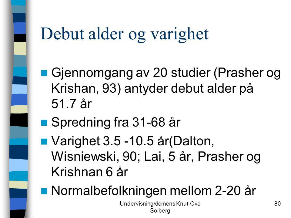 Undervisning/demens Knut-Ove Solberg 80 Debut alder og varighet Gjennomgang av 20 studier (Prasher og Krishan, 93) antyder debut alder på 51.7 år Spre
