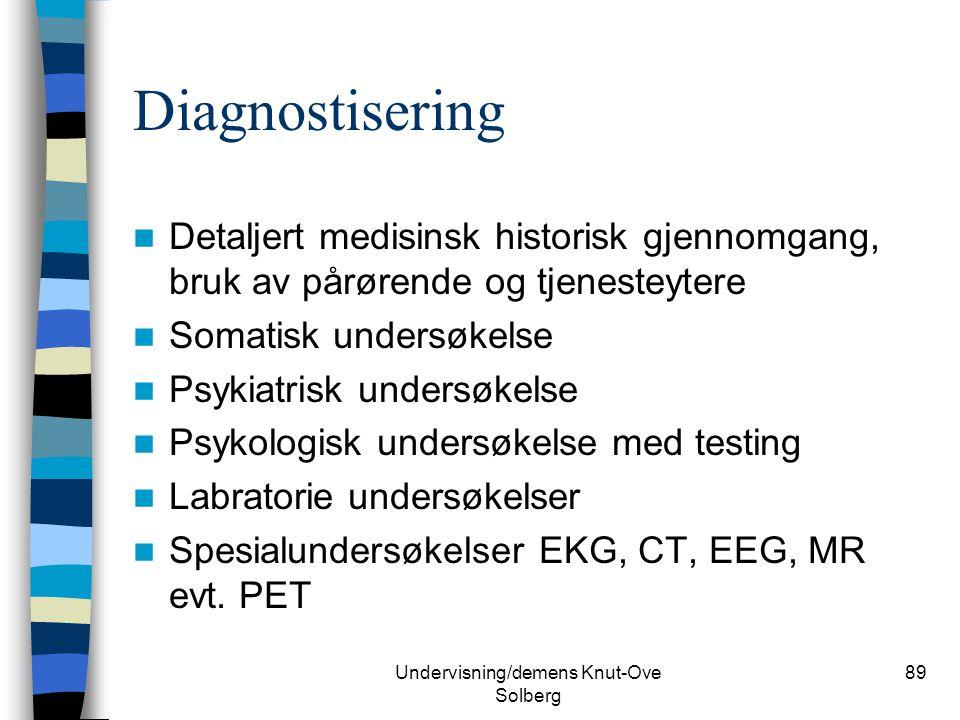 Undervisning/demens Knut-Ove Solberg 89 Diagnostisering Detaljert medisinsk historisk gjennomgang, bruk av pårørende og tjenesteytere Somatisk undersø