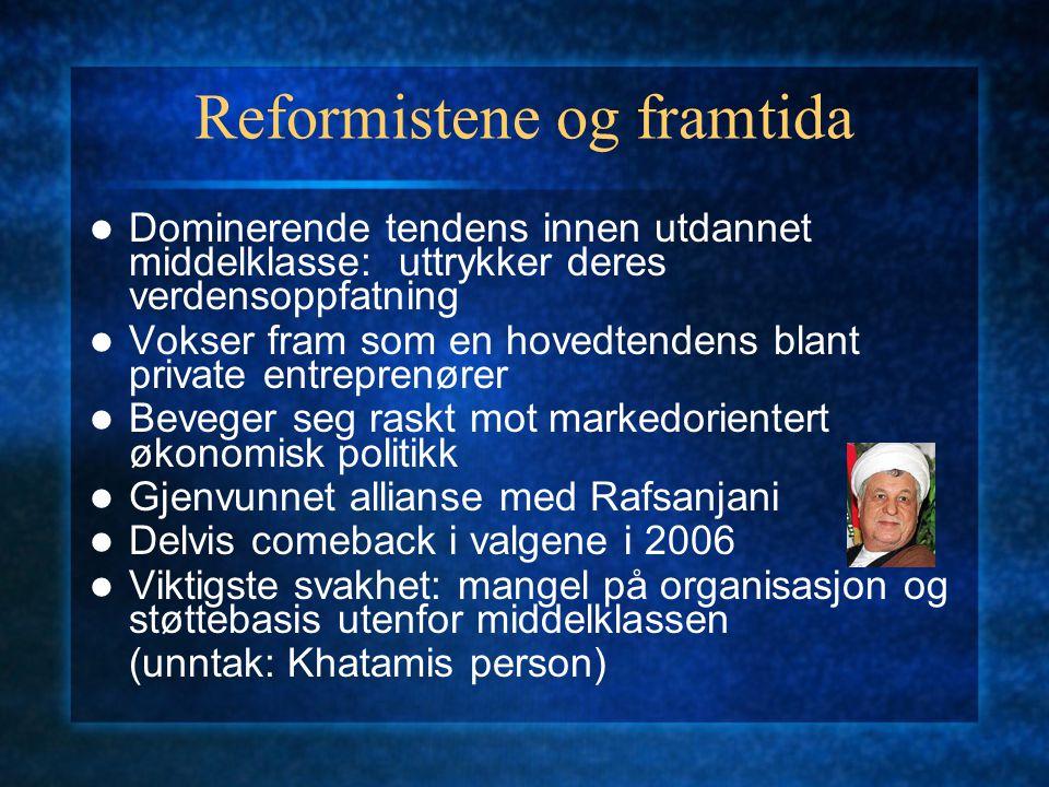 Reformistene og framtida Dominerende tendens innen utdannet middelklasse: uttrykker deres verdensoppfatning Vokser fram som en hovedtendens blant priv