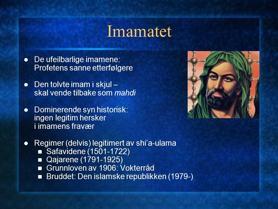 Imamatet De ufeilbarlige imamene: Profetens sanne etterfølgere Den tolvte imam i skjul – skal vende tilbake som mahdi Dominerende syn historisk: ingen