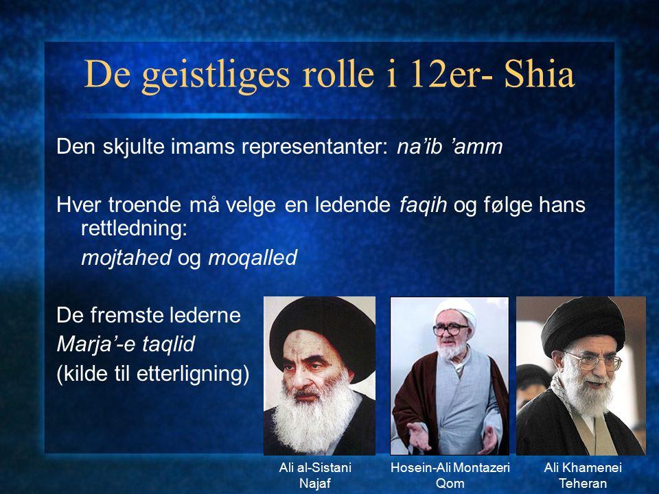 De geistliges rolle i 12er- Shia Den skjulte imams representanter: na'ib 'amm Hver troende må velge en ledende faqih og følge hans rettledning: mojtah