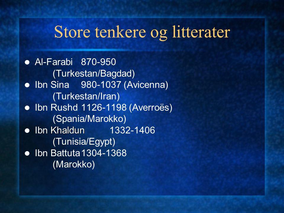 Store tenkere og litterater Al-Farabi870-950 (Turkestan/Bagdad) Ibn Sina980-1037 (Avicenna) (Turkestan/Iran) Ibn Rushd1126-1198 (Averroës) (Spania/Mar