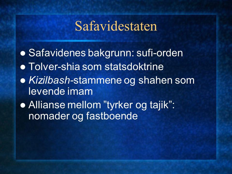 """Safavidestaten Safavidenes bakgrunn: sufi-orden Tolver-shia som statsdoktrine Kizilbash-stammene og shahen som levende imam Allianse mellom """"tyrker og"""