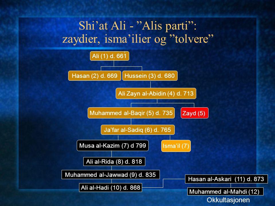 "Shi'at Ali - ""Alis parti"": zaydier, isma'ilier og ""tolvere"" Ali (1) d. 661 Hasan (2) d. 669Hussein (3) d. 680 Ali Zayn al-Abidin (4) d. 713 Muhammed a"