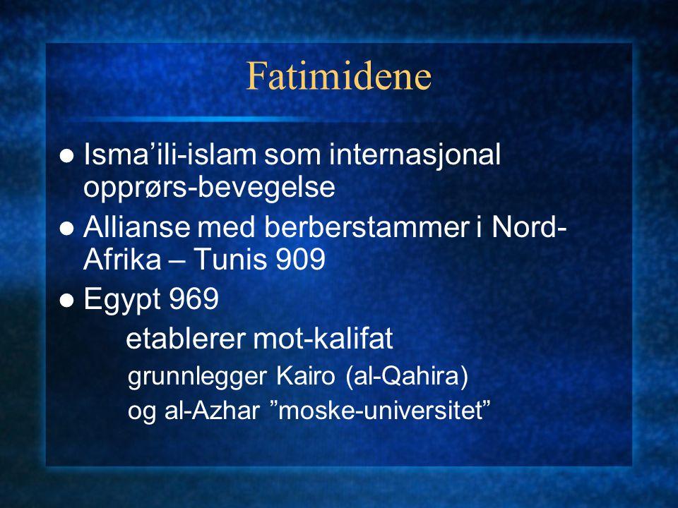 Fatimidene Isma'ili-islam som internasjonal opprørs-bevegelse Allianse med berberstammer i Nord- Afrika – Tunis 909 Egypt 969 etablerer mot-kalifat gr