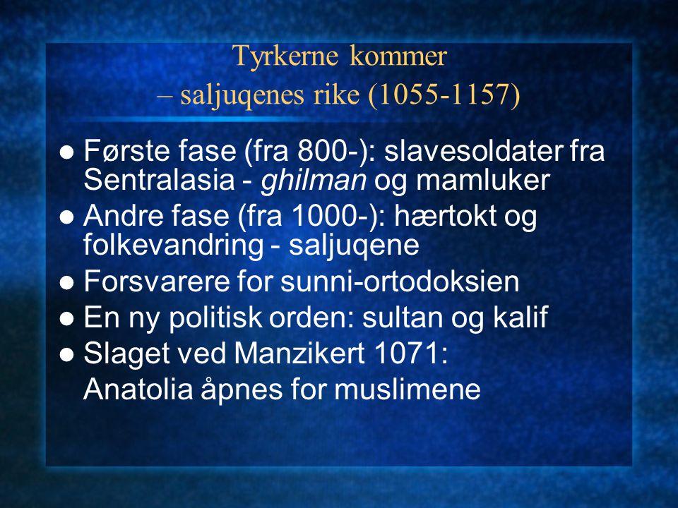 Tyrkerne kommer – saljuqenes rike (1055-1157) Første fase (fra 800-): slavesoldater fra Sentralasia - ghilman og mamluker Andre fase (fra 1000-): hært