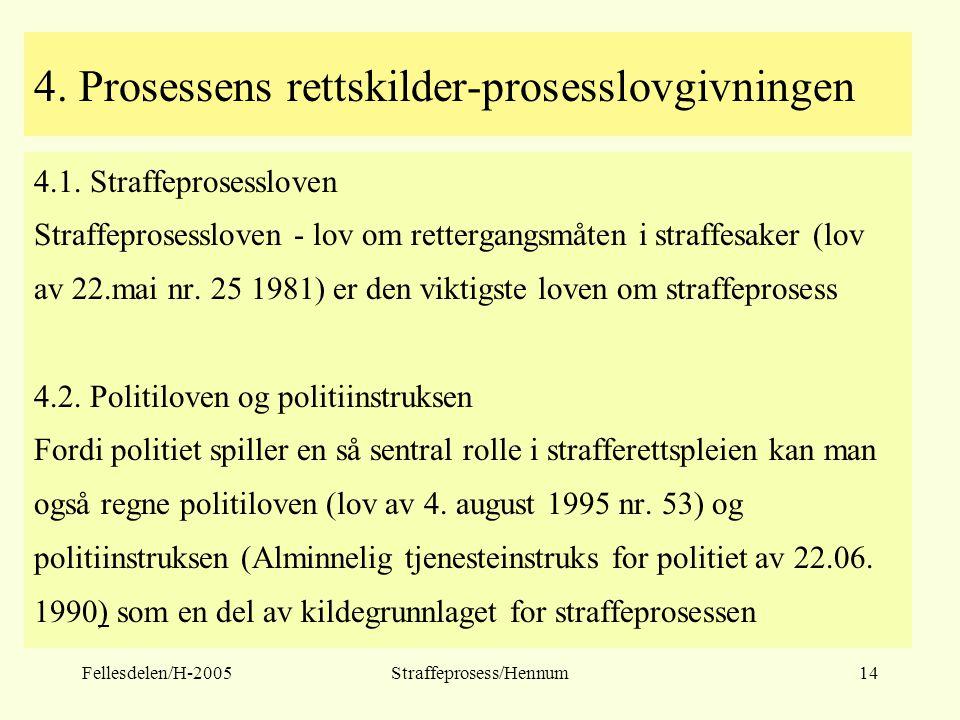 Fellesdelen/H-2005Straffeprosess/Hennum14 4. Prosessens rettskilder-prosesslovgivningen 4.1. Straffeprosessloven Straffeprosessloven - lov om retterga