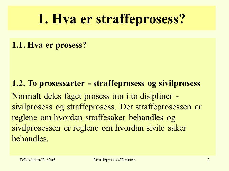 Fellesdelen/H-2005Straffeprosess/Hennum2 1. Hva er straffeprosess? 1.1. Hva er prosess? 1.2. To prosessarter - straffeprosess og sivilprosess Normalt