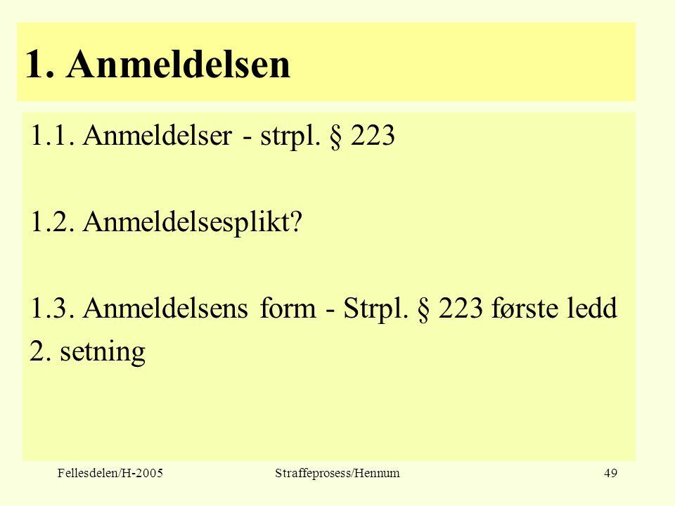 Fellesdelen/H-2005Straffeprosess/Hennum49 1. Anmeldelsen 1.1. Anmeldelser - strpl. § 223 1.2. Anmeldelsesplikt? 1.3. Anmeldelsens form - Strpl. § 223