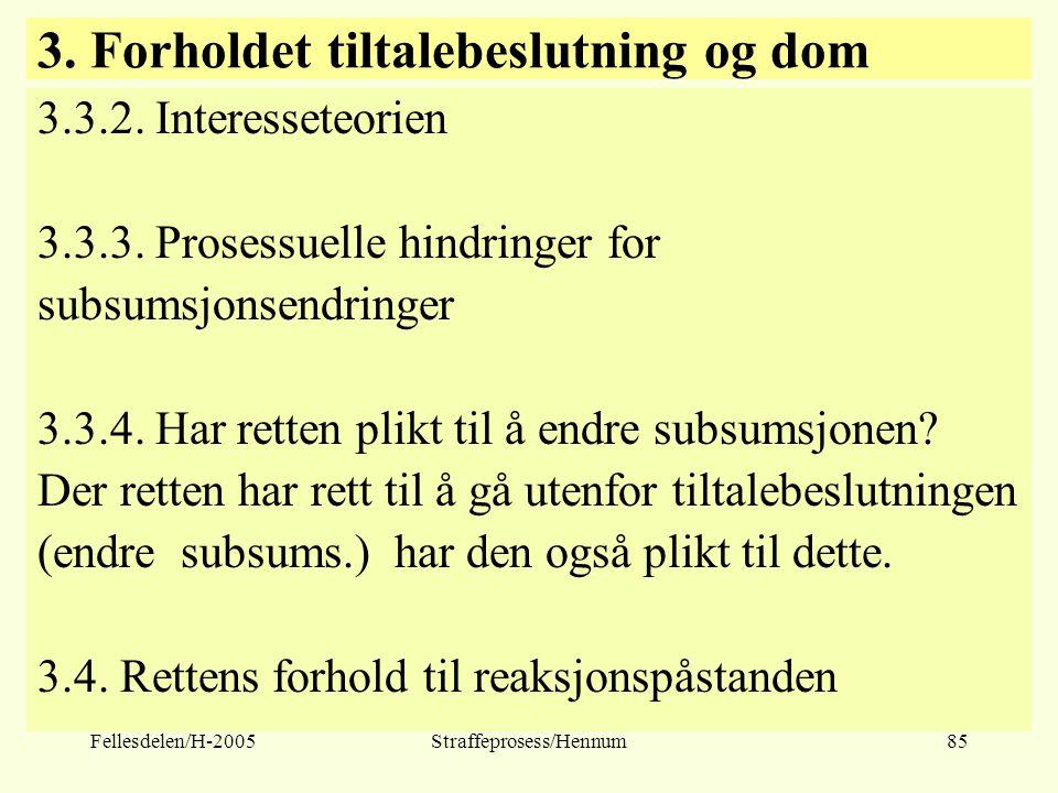 Fellesdelen/H-2005Straffeprosess/Hennum85 3. Forholdet tiltalebeslutning og dom 3.3.2. Interesseteorien 3.3.3. Prosessuelle hindringer for subsumsjons
