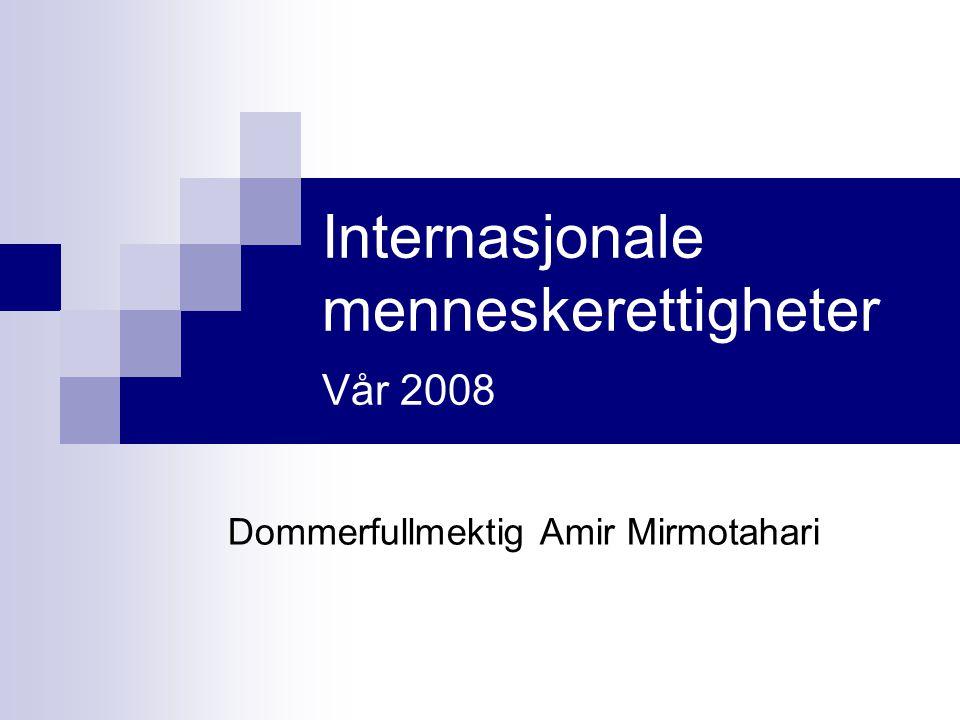 Internasjonale menneskerettigheter Vår 2008 Dommerfullmektig Amir Mirmotahari