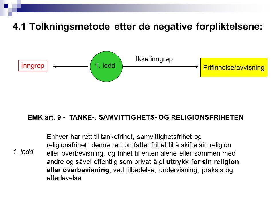 4.1 Tolkningsmetode etter de negative forpliktelsene: Ikke inngrep Inngrep 1. ledd Frifinnelse/avvisning Enhver har rett til tankefrihet, samvittighet