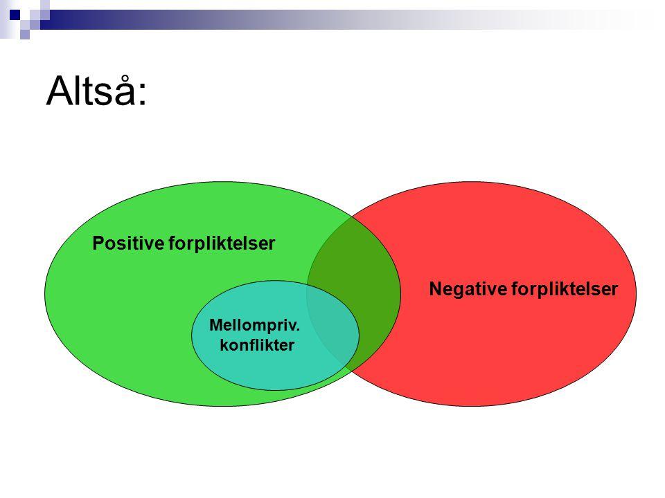 Altså: Positive forpliktelser Negative forpliktelser Mellompriv. konflikter