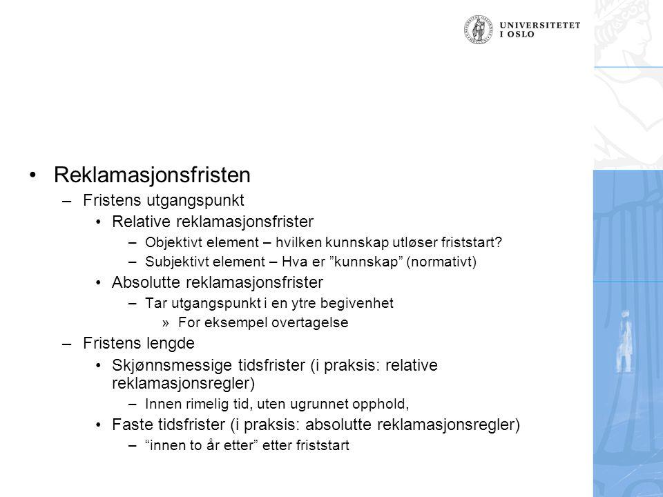 Realkreditors kontraktsbrudd (fortsettelse) –Erstatning/renter Ingen krav til spesifisert reklamasjon Krav som må forventes Unntak: Agl.