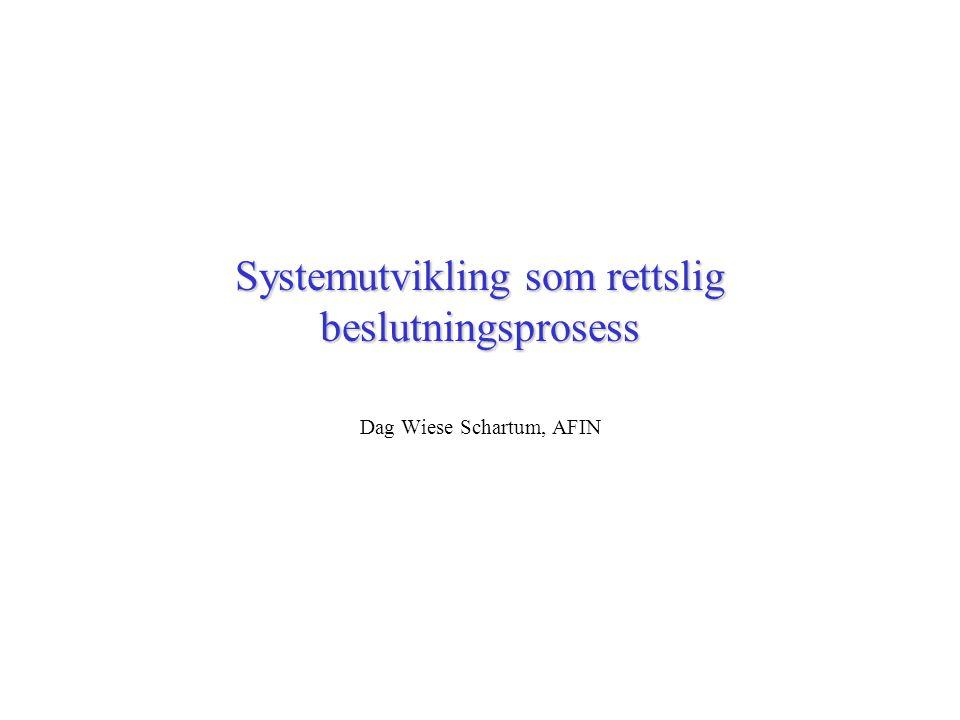 Systemutvikling som rettslig beslutningsprosess Dag Wiese Schartum, AFIN