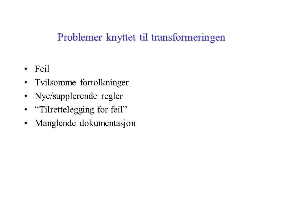 """Problemer knyttet til transformeringen Feil Tvilsomme fortolkninger Nye/supplerende regler """"Tilrettelegging for feil"""" Manglende dokumentasjon"""
