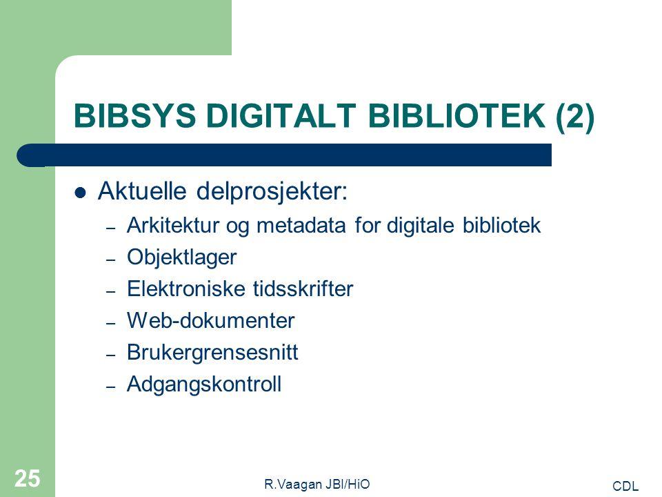CDL R.Vaagan JBI/HiO 25 BIBSYS DIGITALT BIBLIOTEK (2) Aktuelle delprosjekter: – Arkitektur og metadata for digitale bibliotek – Objektlager – Elektroniske tidsskrifter – Web-dokumenter – Brukergrensesnitt – Adgangskontroll