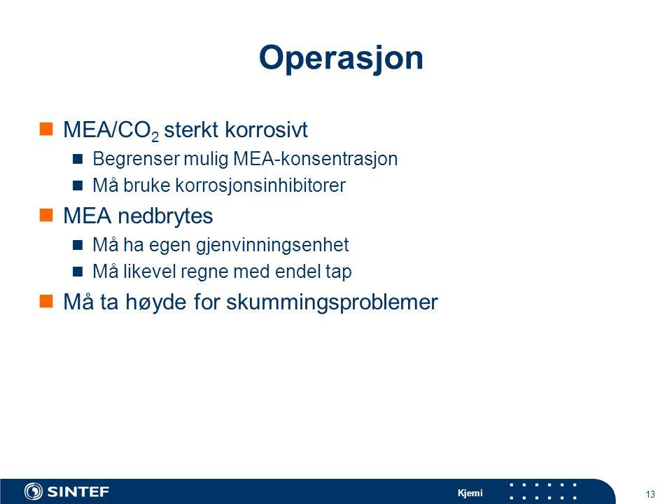 Kjemi 13 Operasjon MEA/CO 2 sterkt korrosivt Begrenser mulig MEA-konsentrasjon Må bruke korrosjonsinhibitorer MEA nedbrytes Må ha egen gjenvinningsenhet Må likevel regne med endel tap Må ta høyde for skummingsproblemer