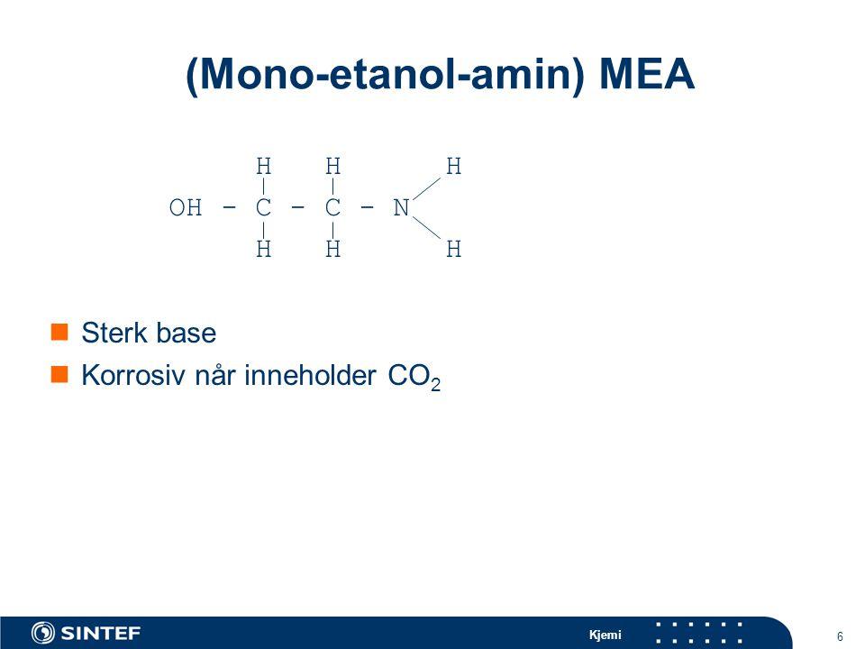 Kjemi 6 (Mono-etanol-amin) MEA H H H OH - C - C - N H H H Sterk base Korrosiv når inneholder CO 2
