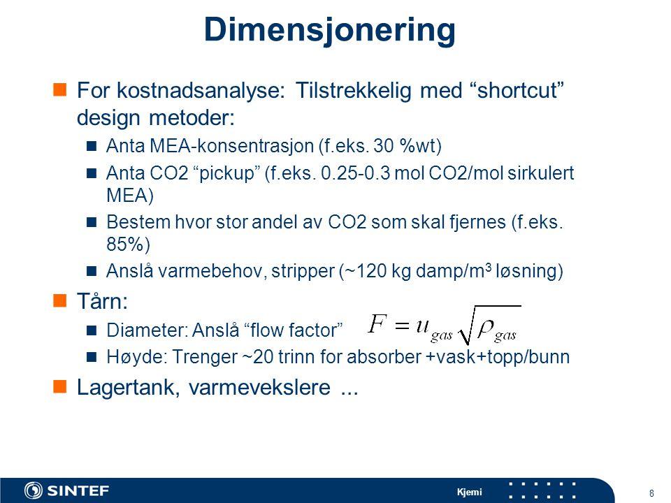 Kjemi 8 Dimensjonering For kostnadsanalyse: Tilstrekkelig med shortcut design metoder: Anta MEA-konsentrasjon (f.eks.