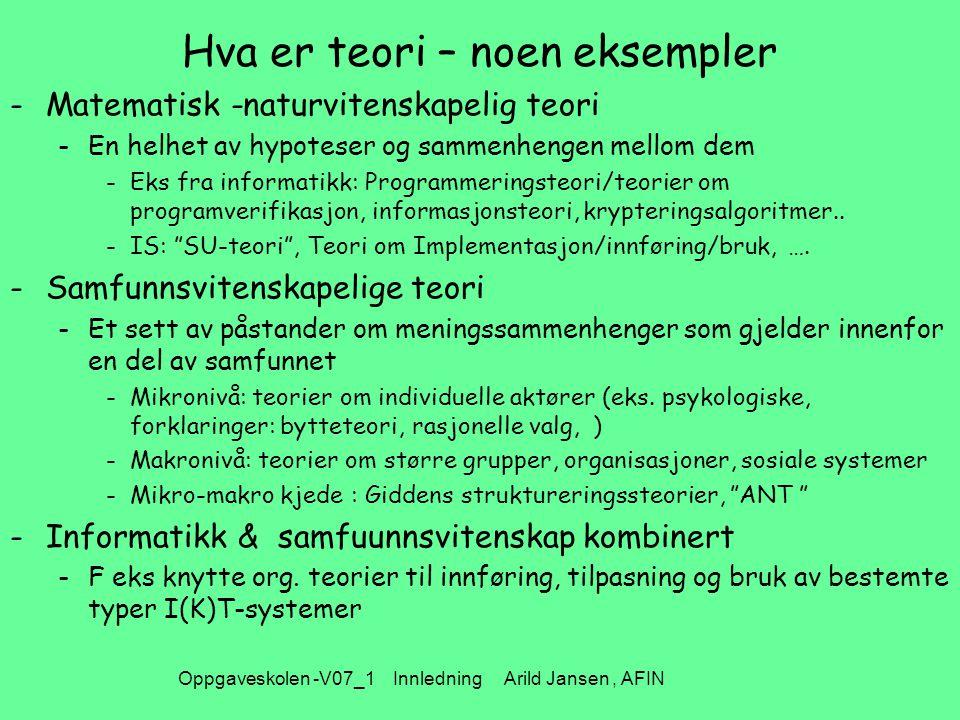 Oppgaveskolen -V07_1 Innledning Arild Jansen, AFIN Hva er teori – noen eksempler -Matematisk -naturvitenskapelig teori -En helhet av hypoteser og sammenhengen mellom dem -Eks fra informatikk: Programmeringsteori/teorier om programverifikasjon, informasjonsteori, krypteringsalgoritmer..