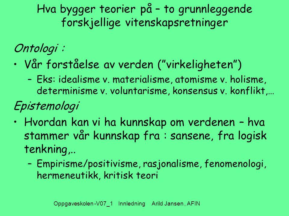Oppgaveskolen -V07_1 Innledning Arild Jansen, AFIN Alternative syn på kunnskap og virkeligheten
