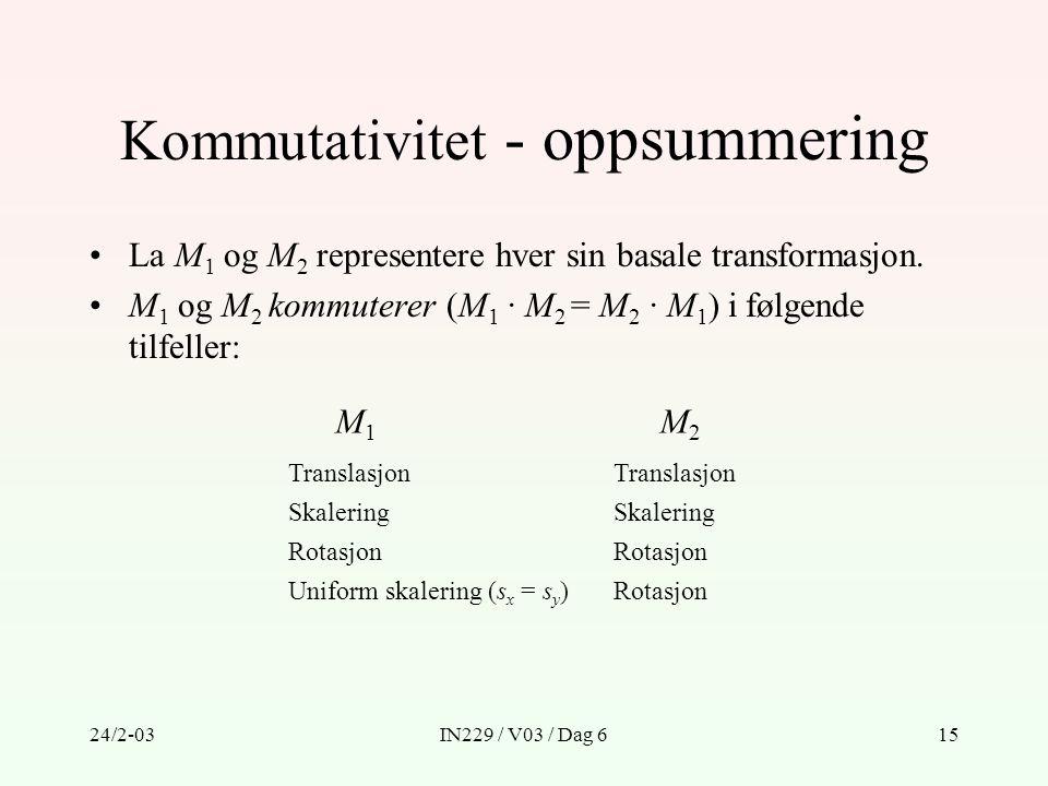 24/2-03IN229 / V03 / Dag 615 Kommutativitet - oppsummering La M 1 og M 2 representere hver sin basale transformasjon. M 1 og M 2 kommuterer (M 1 · M 2