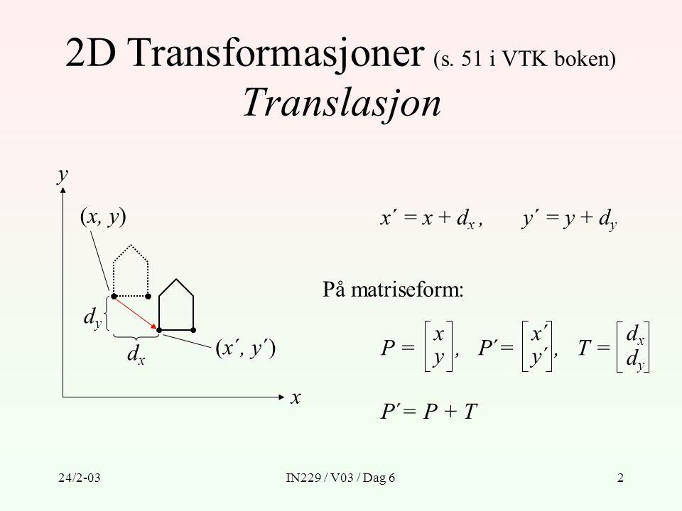 24/2-03IN229 / V03 / Dag 633 Transformasjonmatrisen M per for perspektivprojeksjon x z xpxp zkzk P (x, y, z) y z ypyp zkzk xpxp zkzk = x z k – z ypyp zkzk = y xpxp = z k x z k – z = x 1 – (z / z k ) ypyp = z k y z k – z = y 1 – (z / z k ) M per = 1 0 0 1 0 0 0000 00 – 1/ z k 1 0 0,, x y P (x, y, z) P p (x p, y p, z p = 0) z P k (x k = 0, y k = 0, z k ) Antar z k > 0 og z k > z .