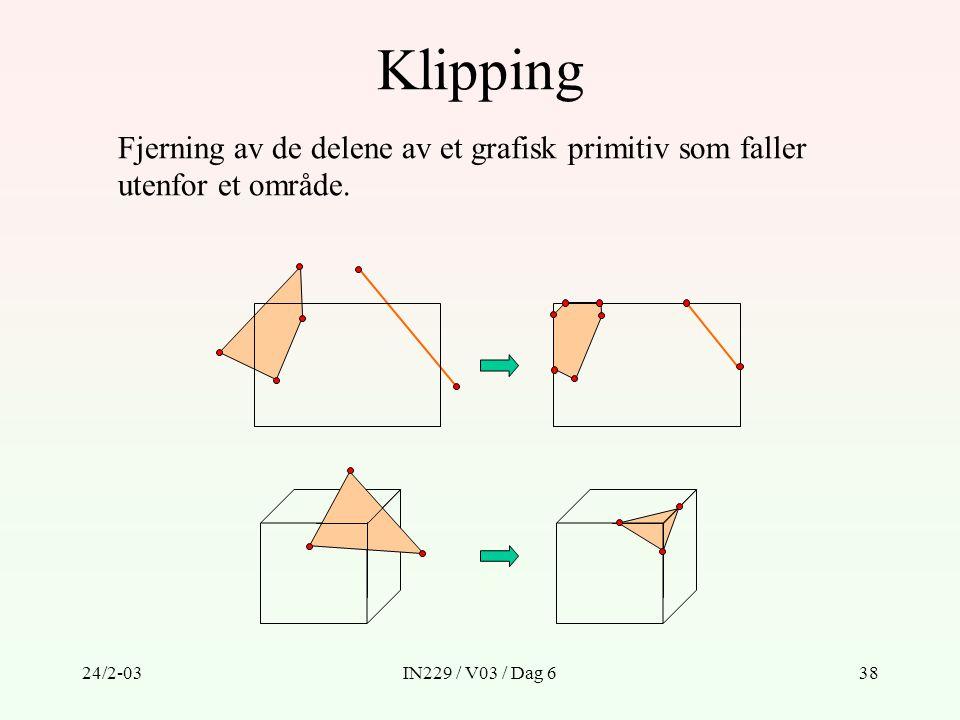 24/2-03IN229 / V03 / Dag 638 Klipping Fjerning av de delene av et grafisk primitiv som faller utenfor et område.