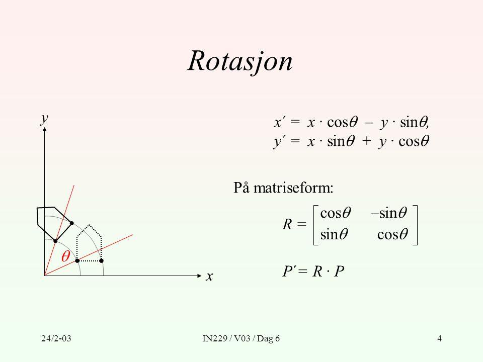 24/2-03IN229 / V03 / Dag 635 Basisalgoritme, uten klipping, for 3D  2D transformasjon med perspektivprojeksjon Steg 1: Multipliser punktene i det grafiske primitivet GP med syns- orienteringsmatrisen M orient definert som følger: 1.1: Translater origo i synskoordinat-systemet til origo i verdenskoordinat-systemet: T(d x, d y, d z ) 1.2: Rotér synskoordinat-systemet slik at aksene sammenfaller med verdenskoordinat-systemet: R(  ) ·R(  ) ·R(  ) M orient = R(  ) ·R(  ) ·R(  ) ·T(d x, d y, d z ) GP´ = M orient ·GP verdenskoordinater  synskoordinater.