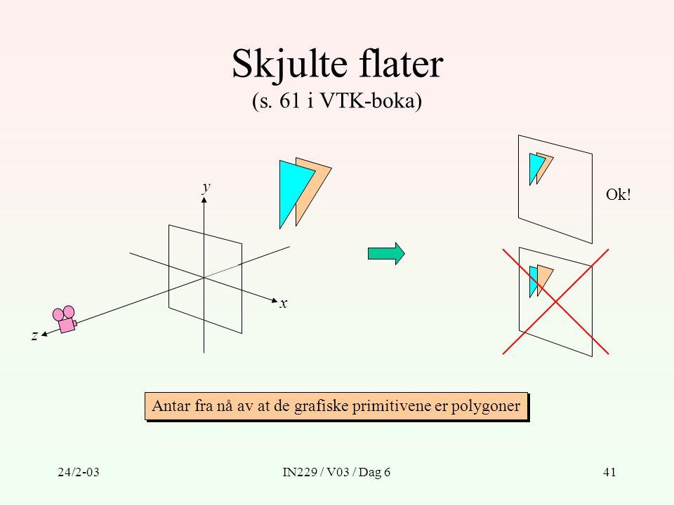 24/2-03IN229 / V03 / Dag 641 Skjulte flater (s. 61 i VTK-boka) x y z Ok! Antar fra nå av at de grafiske primitivene er polygoner