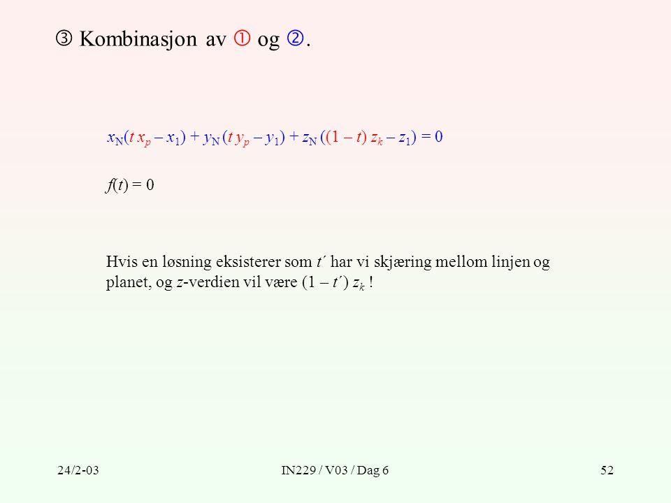 24/2-03IN229 / V03 / Dag 652  Kombinasjon av  og . x N (t x p – x 1 ) + y N (t y p – y 1 ) + z N ((1 – t) z k – z 1 ) = 0 f(t) = 0 Hvis en løsning