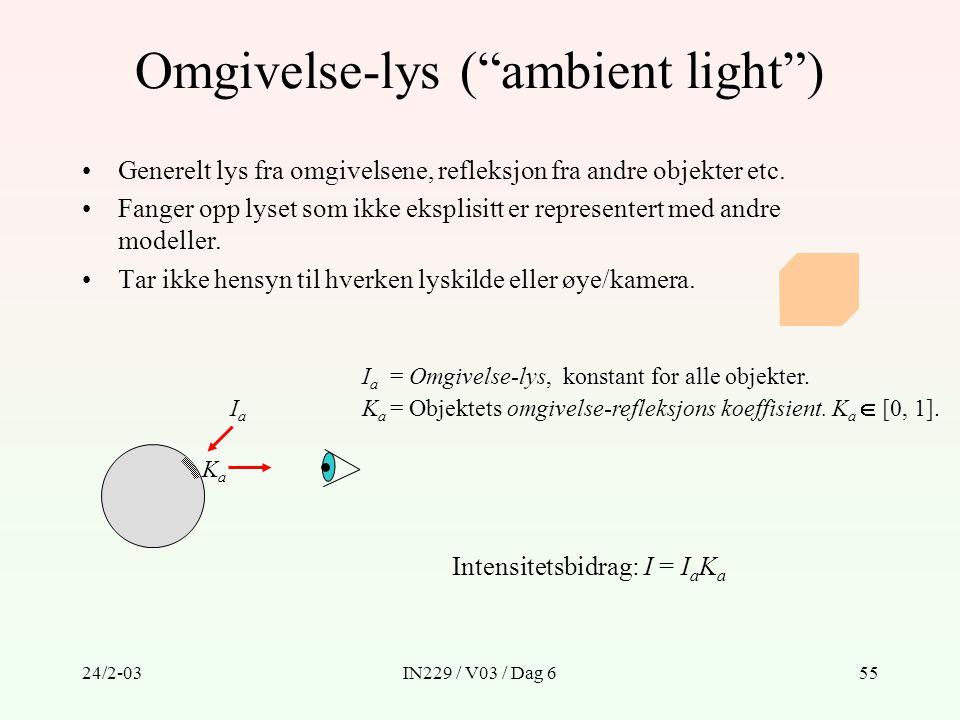 """24/2-03IN229 / V03 / Dag 655 Omgivelse-lys (""""ambient light"""") Generelt lys fra omgivelsene, refleksjon fra andre objekter etc. Fanger opp lyset som ikk"""