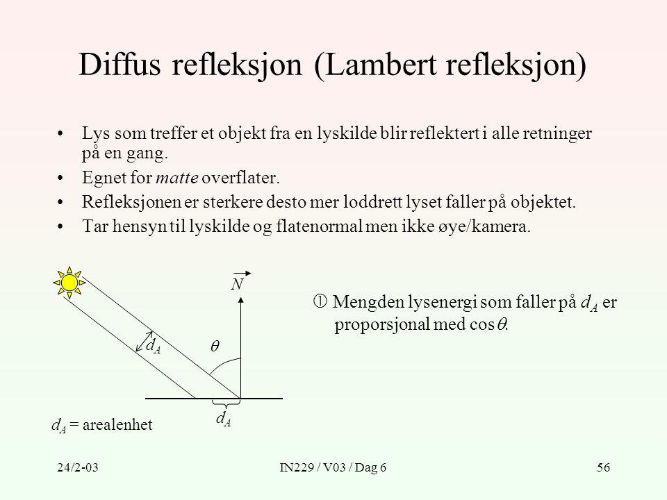 24/2-03IN229 / V03 / Dag 656 Diffus refleksjon (Lambert refleksjon) Lys som treffer et objekt fra en lyskilde blir reflektert i alle retninger på en g