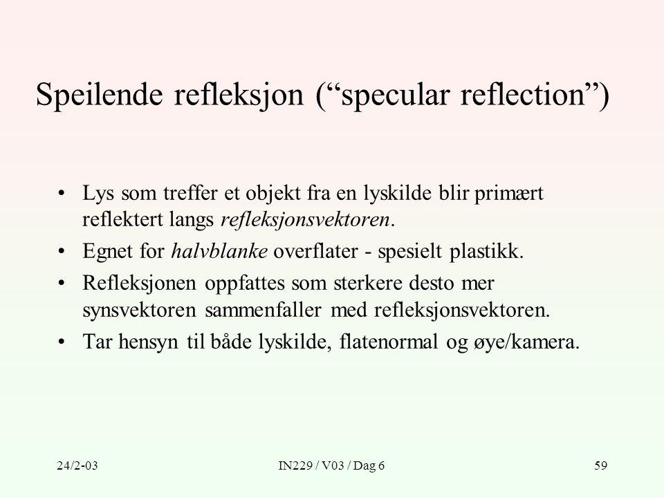 """24/2-03IN229 / V03 / Dag 659 Speilende refleksjon (""""specular reflection"""") Lys som treffer et objekt fra en lyskilde blir primært reflektert langs refl"""