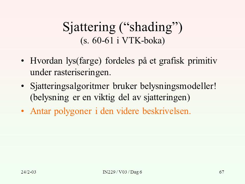 """24/2-03IN229 / V03 / Dag 667 Sjattering (""""shading"""") (s. 60-61 i VTK-boka) Hvordan lys(farge) fordeles på et grafisk primitiv under rasteriseringen. Sj"""