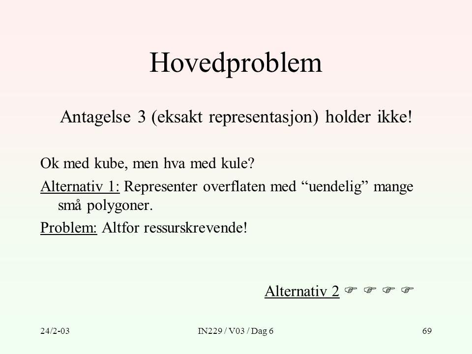 24/2-03IN229 / V03 / Dag 669 Hovedproblem Antagelse 3 (eksakt representasjon) holder ikke! Ok med kube, men hva med kule? Alternativ 1: Representer ov