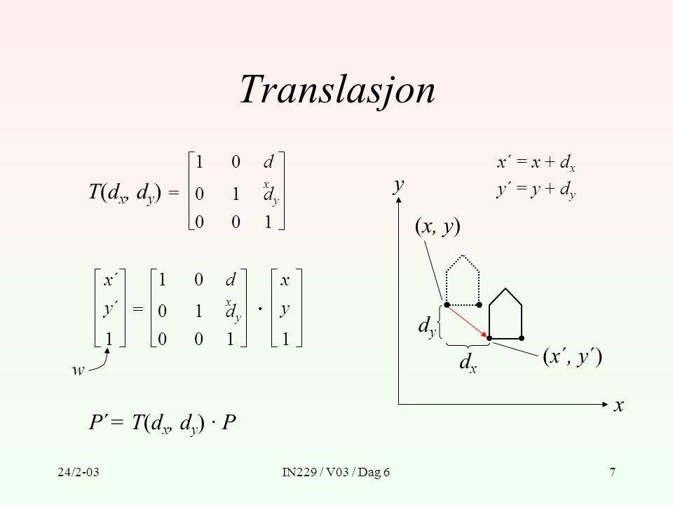 24/2-03IN229 / V03 / Dag 67 Translasjon T(d x, d y ) = 1 0 0 1 dxdx dydy 001 x´x´ y´y´ 1 = 1 0 0 1 dxdx dydy 001 x y 1 · P´= T(d x, d y ) · P x´ = x +